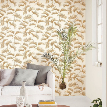 Papier peint Palm Jungle Jaune Blanc -MOONLIGHT- Caselio MLG101250020