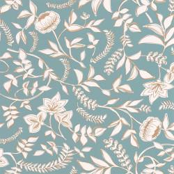 Papier peint Honour bleu indien beige doré -MYSTERY- Caselio MYY101586007