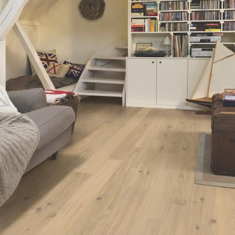 """QUICK STEP - Compact - Parquet contrecollé """"COM1451 chêne blanc coton mat"""""""
