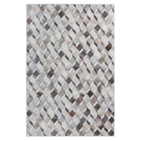 Tapis imitation peau de bêté - Cubes 3D blanc et marron - Bonanza 524