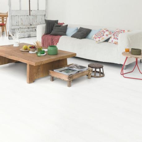 """QUICK STEP - Impressive - Lames stratifiées à clipser """"IM1859 planches blanches monolames"""" (résistant)"""