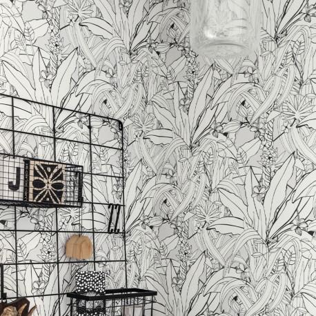 Papier Peint Urban Jungle Blanc Noir -CLUB BOTANIQUE- Rasch 538946