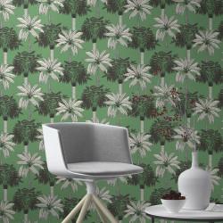 Papier peint Scandipalm Gris Fond Vert  -CLUB BOTANIQUE- Rasch 537833