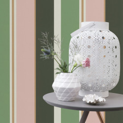 Papier peint Rayures Vert Rose Or -CLUB BOTANIQUE- Rasch 539028