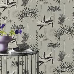 Papier peint Cocotier Vert De Gris -CLUB BOTANIQUE- Rasch 540048