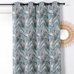 Rideau prêt-à-poser à motif TROPICO palmes bleues - Linder