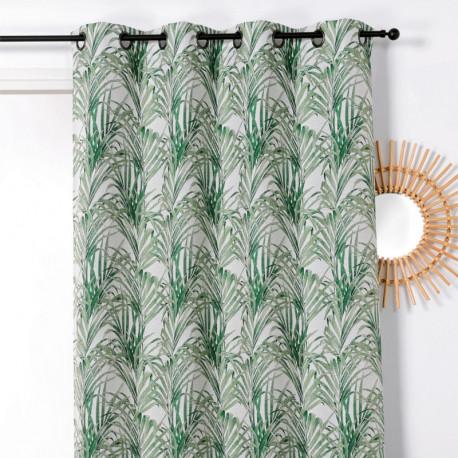 Rideau prêt-à-poser à motif TROPICO palmes vertes - Linder