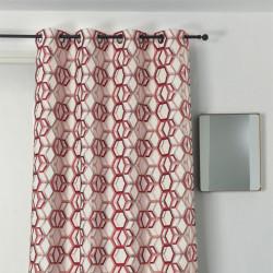 Rideau à œillets - motif géométrique rouge et argent  - ALANIS - Linder