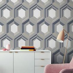 Papier peint intissé à motif hexagonal 3D argent et beige - GALACTIK - UGEPA