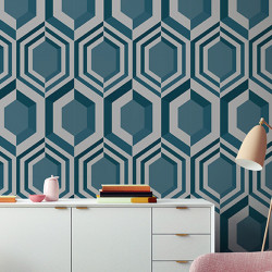 Papier peint intissé à motif hexagonal 3D argent et bleu - GALACTIK - UGEPA