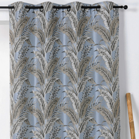 Rideau à œillets - motif exotique gris bleuté - SUMATRA - Linder