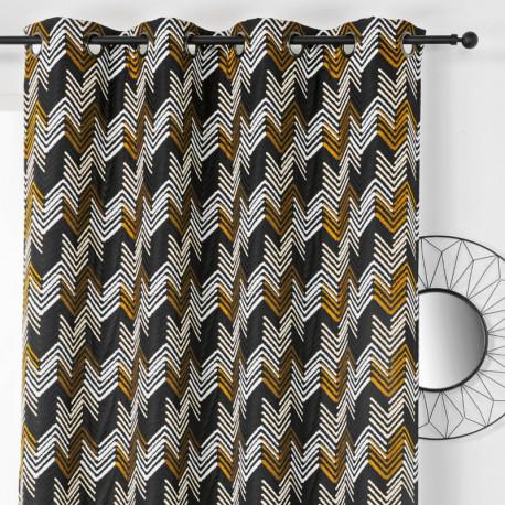 Rideau à œillets - motif chevrons noir et doré - APACHE - Linder