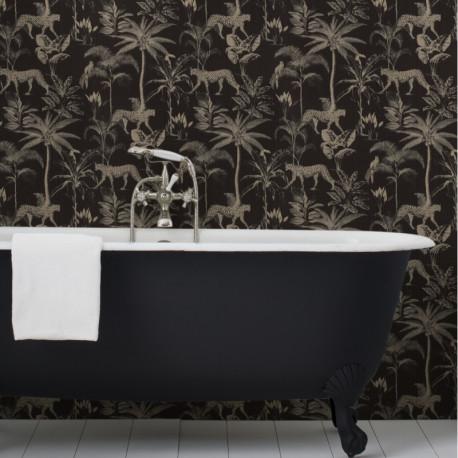Papier peint 409031 SAVANE motif jungle noir et doré - Rasch