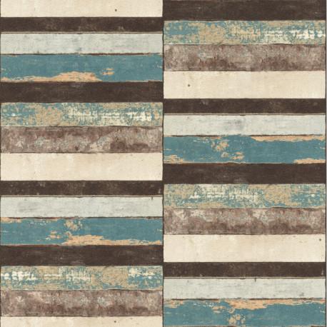 Papier peint Planchettes Bois turquoise - Rasch - 403701