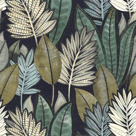 Papier peint vinyle sur intissé SABAL marine - Collection MANILLE - CASAMANCE