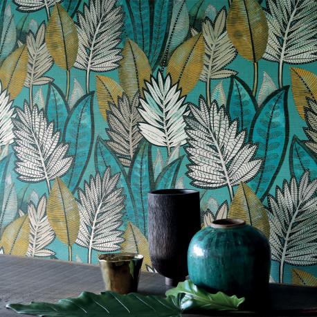 Papier peint vinyle sur intissé SABAL vert d'eau - Collection MANILLE - CASAMANCE