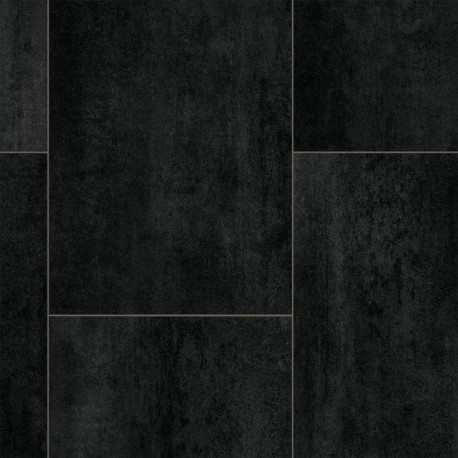 Sol PVC - Barcelona D 590 carrelage noir - Atlas IVC - rouleau 4M