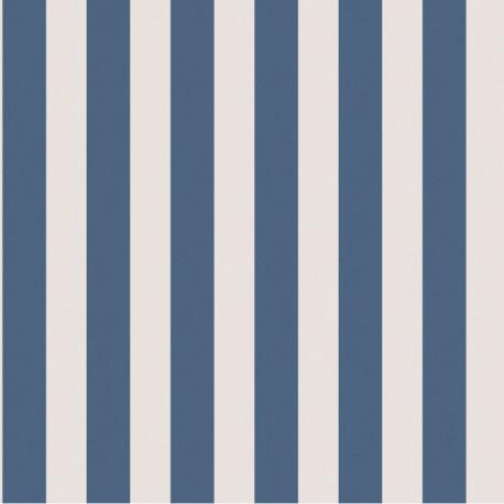 Papier peint RAYURES bicolore marine et écru - Collection FREGATE - CASADECO