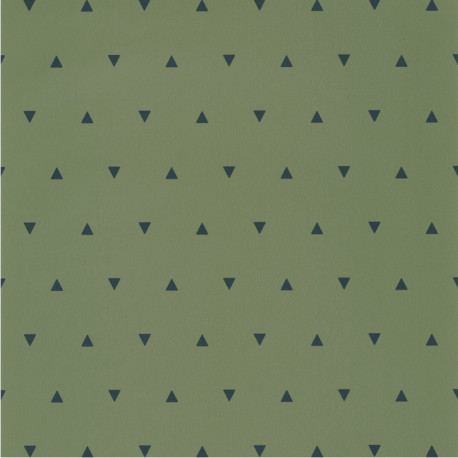 Papier peint à motif BERMUDA TRIANGLE vert kaki et bleu nuit OUP101997400 - OUR PLANET - Caselio