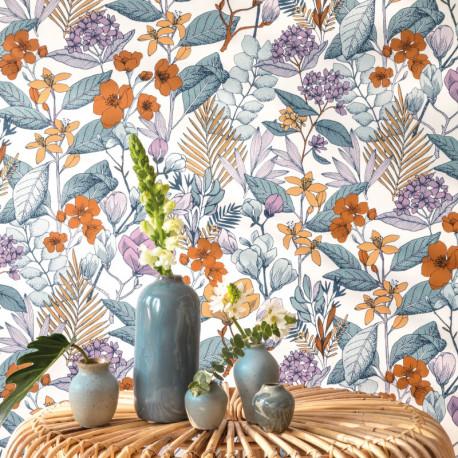 Papier peint à motif MAY parme FLP101855060 - FLOWER POWER - CASELIO