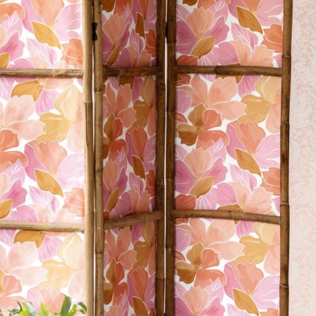 Papier peint à motif AUGUST rose corail doré FLP101884032 - FLOWER POWER - CASELIO