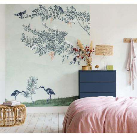 Papier peint panoramique à motif DREAM A LITTLE DREAM OF ME vert PTB102046237 - THE PLACE TO BED - CASELIO