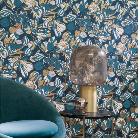 Papier peint Tulipe bleu et or - 1930 - Casadeco - MNCT85716306