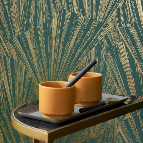 Papier peint Eclat Foil vert et or - 1930 - Casadeco - 85747507