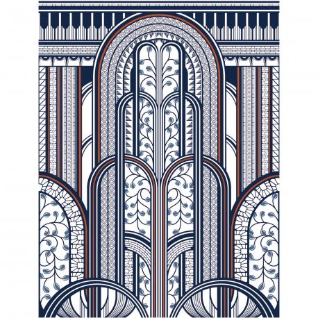 Panoramique Paravent bleu et cuivre - 1930 - Casadeco  - 85876543