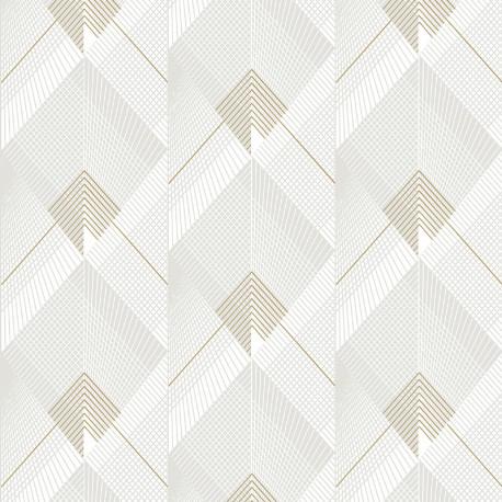 Papier peint Silex blanc et or - GALACTIK - Ugepa - L967-00
