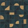 Papier peint Puzzle bleu pétrole et doré - LABYRINTH - Caselio - LBY102106055