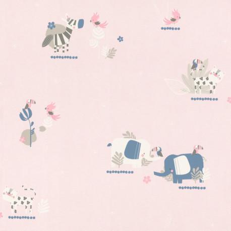 Papier peint Animals rose - BAMBINO - Rasch - BBN249743
