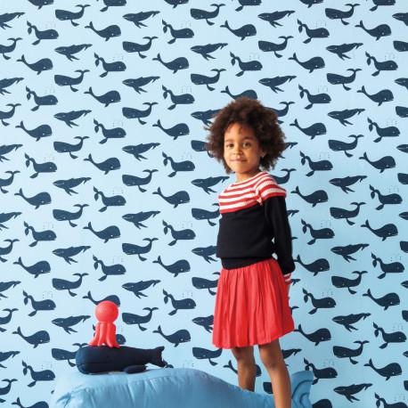 Papier peint Moby Dick bleu - BAMBINO - Rasch - BBN531510