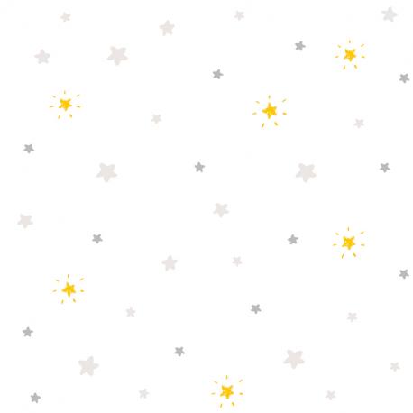 Papier peint Etoiles gris et jaune - BABY LAND - Lutèce 21143