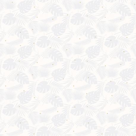 Papier peint Palme gris pâle pailleté - BABY LAND - Lutèce 21130