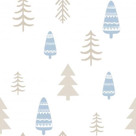 Papier peint Sapin doré et bleu ciel - BABY LAND - Lutèce 5466