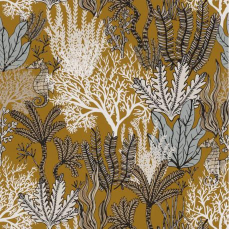 Papier peint Posidonie moutarde - ORPHEE - Casamance - 74700304