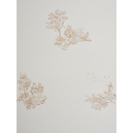 Papier peint à motifs placés Jouy marron clair - Chantilly - Casadeco