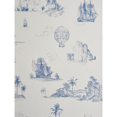 Papier peint à motifs Voyage bleu - Chantilly - Casadeco