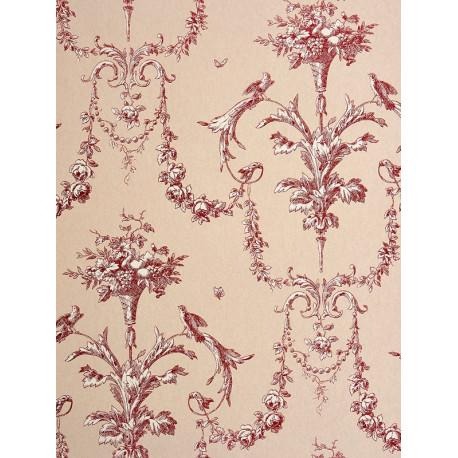 Papier peint à motifs Cornes d'abondance rouge - Chantilly - Casadeco