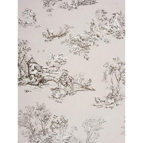 Papier peint à motifs Jouy gris - Chantilly - Casadeco