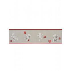 Frise papier peint enfant Oursons et Cubes rouge - DOUCE NUIT - Casadeco