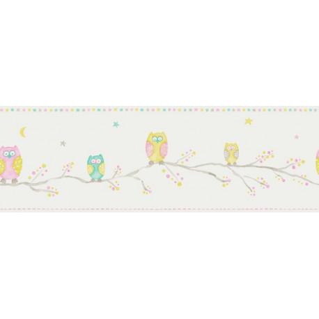 Frise Papier Peint Hiboux / chouettes - Arc-en-ciel - Casadeco