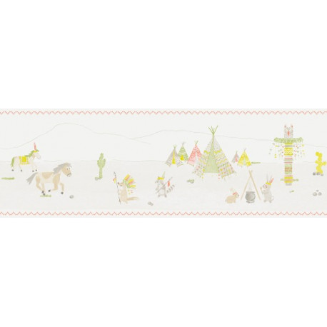 Frise Papier Peint Indiens - vert - Arc-en-ciel - Casadeco