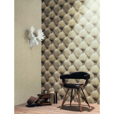 Papier peint Capiton Grain Cuir beige or - METAPHORE - Caselio - MTE65621020