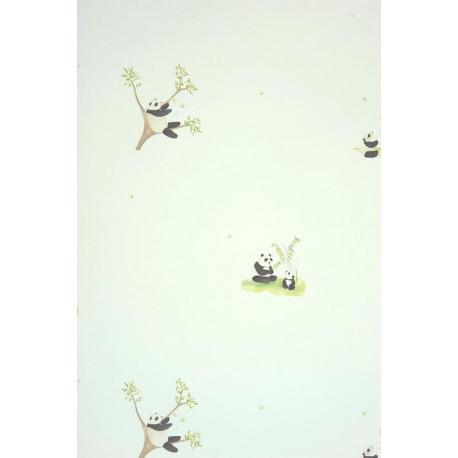 Papier peint ALICE et PAUL à motif panda noir - Casadeco